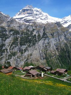 Gimmelwald Switzerland - breathtaking - never beheld earthly beauty so grand I almost had to look away until I went here. Oh The Places You'll Go, Places To Travel, Places To Visit, Wonderful Places, Beautiful Places, Mountain Waterfall, Swiss Alps, Nature Pictures, France