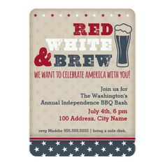 Red, White & Brew Invitation Card #4thofJuly #USA #patriotic