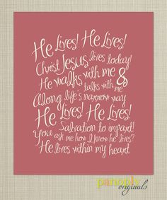 """He Lives"" hymn - would make pretty easter art!!! Favorite song of the day with a favorite hand that held strong!! So, so, good!"