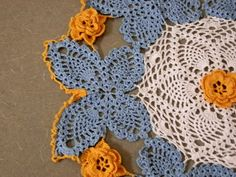 Blue and gold butterfly by DazzlingDoilies on Etsy