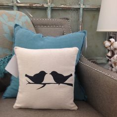 BIRDS on a BRANCH Pillow Cover by WildwoodLanding on Etsy