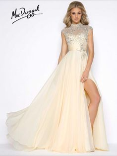 High Slit Illusion Beaded Gown prom dress available at Hope's Bridal