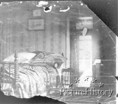 Lincoln's Death Bed    In this tiny room, his head resting on the blood-soaked pillow, Abraham Lincoln died just two hours before this picture was taken.