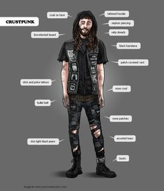 Rob Dubi illustrates consumers - Crust Punk minus the lice infested anything. and dreads. put a bi hawk on this and you have james Crust Punk, Grunge Outfits, Arte Punk, Different Personality Types, Urban Tribes, Mode Grunge, Style Masculin, Hipster, Skinhead