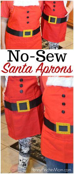 DIY No Sew Easy Santa Apron Tutorial Christmas craft Christmas Aprons, Easy Christmas Crafts, Christmas Gifts For Kids, Easy Crafts For Kids, Easy Diy Crafts, Simple Christmas, Diy For Kids, Christmas Baking, Christmas Ideas