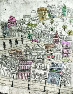 This unique state collagraph is inspired by Montmartre, one of Magalis favourite place in Paris. Printed on 250 gsm printmaking paper. Printed by