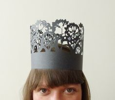 """A crown for birthdays or just for fun. When your done, hang it on your wall and keep. Details: Color - Pink or Black. Material - card stock  Length - 22"""" (adjustable to fit kids to adults)"""