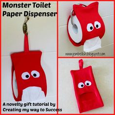 Creating my way to Success: Monster Toilet Paper Dispenser - a novelty gift tutorial great to use TP in stead of kleenex for kids. Easy Sewing Projects, Sewing Hacks, Sewing Tutorials, Sewing Crafts, Sewing Patterns, Felt Crafts, Fabric Crafts, Diy And Crafts, Paper Crafts