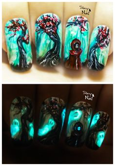 Ghosts in a Spooky Forest ⎮ Glow in the Dark Halloween Freehand Nail Art Tutorial halloweennaildesigns Crazy Nail Art, Crazy Nails, Cool Nail Art, Halloween Nail Designs, Halloween Nail Art, Cool Nail Designs, Neon Nails, Diy Nails, Tinta Neon