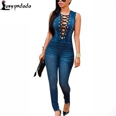 Catsuit Sleeveless Dark Denim Overalls Sexy Bodysuit Women Long Pants Deep V Neck Rompers Womens Jumpsuit Party Night Club Wear #Affiliate