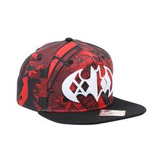 DC Comics Batman Harley Quinn Logo Sublimation Snapback Hot Topic ($15) ❤ liked on Polyvore featuring accessories, hats, snap back hats, bills hats, polyester hat, red and black snapback and embroidered hats