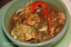 Crab and Shrimp Gumbo - A bowl of Deep South goodness, this gumbo is seasoned with small crab bodies and then topped off with crabmeat and shrimp.