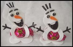 PORTA BOMBOM DO FROZEN Olaf, Snowman, Christmas Ornaments, Holiday Decor, Disney Characters, Crafts, Google, Frozen Birthday, Bonbon