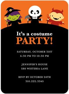 halloween costume party invite for kids Halloween Costume Party Invitations, Classic Halloween Costumes, Halloween Ideas, Unique Invitations, Invites, Halloween Birthday, Free, Party Ideas, Holiday Ideas