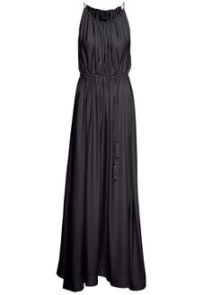 Black Spaghetti Strap Drawstring Pleated Maxi Dress