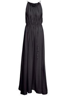 Black Spaghetti Strap Drawstring Pleated Dress - Sheinside.com