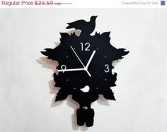 Free Calendars and -10% Bird Modern Cuckoo Silhouette Wall Clock