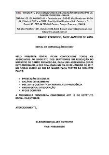 NONATO NOTÍCIAS: EDITAL DE CONVOCAÇÃO PARTA ASSEMBLÉIA GERAL EXTRAO...