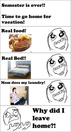 My thought every time I came home from college . . .