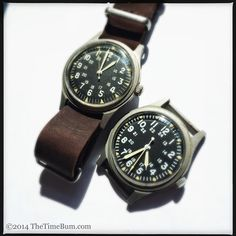 Vietnam War Watch: 1969 Benrus side-by-side with an 1979 Hamilton Vintage Watches For Men, Best Watches For Men, Cool Watches, Field Watches, Army Watches, Affordable Watches, Beautiful Watches, Hamilton, Military