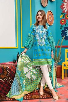 Beautiful blue 2 piece unstitched dress by Gul Ahmed Printed prets 2018 - Pakistani dresses Simple Pakistani Dresses, Pakistani Dresses Online, Pakistani Fashion Casual, Pakistani Dress Design, Pakistani Outfits, Indian Dresses, Pakistani Lawn Suits, Indian Suits, Stylish Dresses For Girls