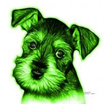 Green Salt and Pepper Schnauzer Puppy pop art by artist James Ahn. Schnauzers are a loyal breed. BGreen as a rat catcher, yard dog, and guard dog. They have high energy and are intelligent... They make great companions... Schnauzer 7206   © Rateitart.com // All Rights Reserved.   #Green #ColorGreen #GreenArt #GreenPopArt #Schnauzer # SchnauzerArt # MinatureSchnauzer #DogArt #PopArt #DogArtPrints #ILoveSchnauzer #SchnauzerArtPrint