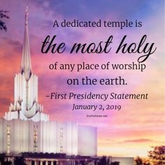 A dedicated temple is the most holy of any place of worship on the earth. First Presidency Statement January 2019 Temple Quotes Lds, Lds Quotes, Uplifting Quotes, Great Quotes, Temple Lds, Mormon Quotes, Church Quotes, Savior, Jesus Christ