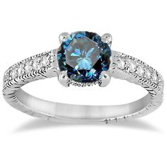 1/2CT Blue & White Diamond Vintage Engagement Ring White Gold Antique Milgrain Size 4-9 by Pompeii3 on Etsy https://www.etsy.com/listing/168064781/12ct-blue-white-diamond-vintage