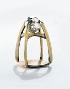 Ring | Torben Hardenberg. 'The Chapel'. Gold, laminated with silver, rough diamond
