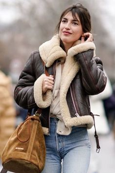 Required: Shearling Flight & Aviator Leather Jackets :: This Is Glamorous Jeans Outfit Winter, Winter Outfits, Blue Jean Outfits, Sheepskin Jacket, Leather Jacket Outfits, Leather Jackets, Aviator Jackets, Shearling Jacket, Mode Streetwear