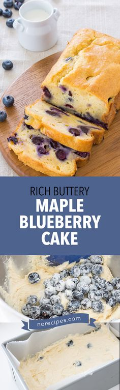 Recipe for a rich buttery pound cake studded with fresh blueberries and a maple syrup glaze. #brunch #coffeecake #blueberries