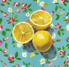 Lemons - folk art painting-  Still life of Lemons and flowers  / original acrylic painting on canvas wall art- wall decor- home decor