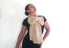 Crochet Bow Scarf Winter scarf in beige  by reneeoriginals1, $45.00