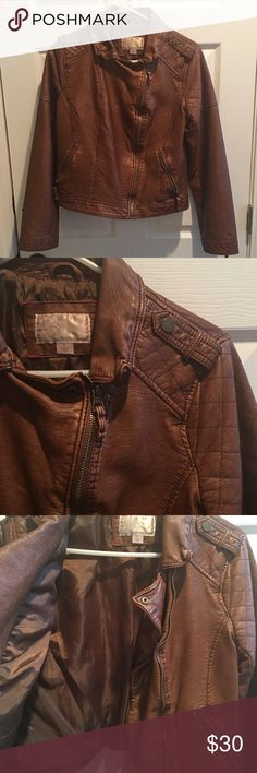Brown faux leather jacket Only worn once. Faux leather. Excellent condition. Xhilaration Jackets & Coats