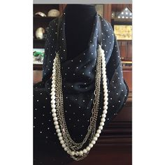 Pearl Statement Necklace Faux pearls, crystal rhinestones & silver links with a black grosgrain ribbon. Pictures are best description, but any questions please ask. Fair, respectful & reasonable offers welcome. Please no lowball offers & no negotiations in comments - use the offer feature. Trades ️️ Ann Taylor Jewelry Necklaces