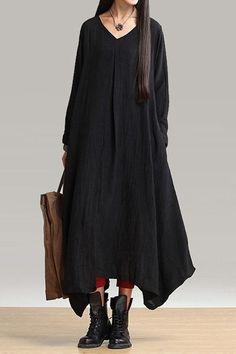 Long Sleeve Loose-Fitting Linen Dress