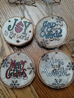 Wood Burned Joy to the World or Merry Christmas ornament by BurnwoodCreations on…