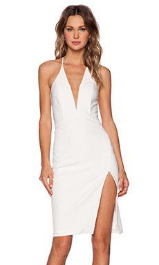 Mason by Michelle Mason Deep V Dress in Ivory