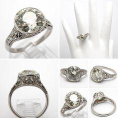 this European Cut Diamond - Art Deco Antique Engagement Ring Antique Diamond Rings, Antique Engagement Rings, Diamond Engagement Rings, Wedding Engagement, Vintage Diamond, Vintage Rings, Engagement Photos, Vintage Jewelry, Wedding Rings