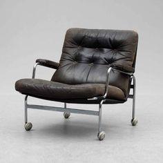 Bruno Mathsson; Chromed Tubular Metal and Leather 'Karin' Chair, 1972.