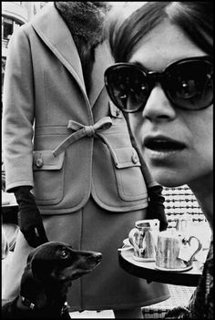 Harper's Bazaar. Photographed by Frank Horvat at the Cafe Flore, Paris, 1962.