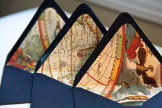 Nautical World Map envelope liners. $16.00, via Etsy.
