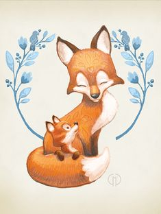 Mama Fox And Baby Art Print by Catherine Noel - Jennifer - Mama Fox And Baby Art Print by Catherine Noel Mama Fox is just so smitten with Baby Fox. This print is also available in a green version. Custom framing available! Fox Drawing, Baby Drawing, Fox Illustration, Illustrations, Deco Baby Shower, Fuchs Tattoo, Nursery Artwork, Wreath Drawing, Fox Tattoo
