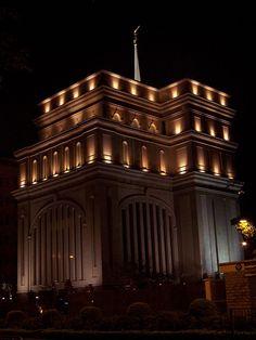 Hong Kong LDS temple at night