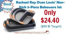 BEST PRICE EVER! Rachael Ray Oven Lovin' Non-Stick 5 Pc Bakeware Set for only $24.40! Grab it now before the price goes back up!  Click the link below to get all of the details ► http://www.thecouponingcouple.com/rachael-ray-oven-lovin-non-stick-5-piece-bakeware-set-38-25-50-target/ #Coupons #Couponing #CouponCommunity  Visit us at http://www.thecouponingcouple.com for more great posts!