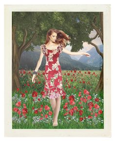 """""""Dancing among the poppies"""" by colonae ❤ liked on Polyvore featuring art"""
