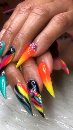 Dark Nails, Gel Nails, Manicure, Exotic Nails, Long Acrylic Nails, Bling Nails, Nail Inspo, Nail Art Designs, Natural Hair Styles