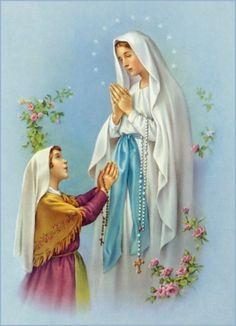 THE MIRACULOUS 54-DAY ROSARY NOVENA ~ Monster Angel Divine Mother, Blessed Mother Mary, Blessed Virgin Mary, Mother Mary Images, Images Of Mary, Religious Icons, Religious Art, Rosary Novena, Santa Bernadette
