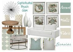 Beach Condo Renovations and Design Board by Seaside Interiors. See the rest of the makeover at www.abritofhappiness.blogspot.com.