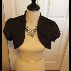 Womens black satin bolero jacket